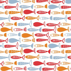 School of Fish red blue and orange