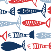 School of Fish red white and blue