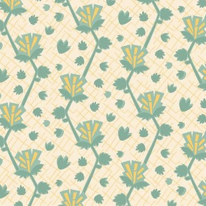 Abstract geometric floral || Yellow gold jade green linen texture mid-century modern _ Miss Chiff Designs