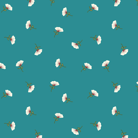 Floral Beauty Small Turquoise Teal fabric by phyllisdobbs on Spoonflower - custom fabric