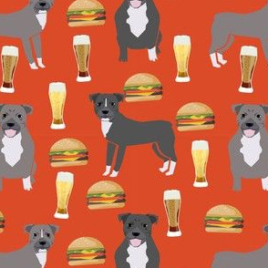 pitbulls and burgers food print burgers and beer - orange/red