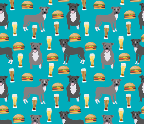 pitbulls and burgers food print burgers and beer - turquoise fabric by petfriendly on Spoonflower - custom fabric