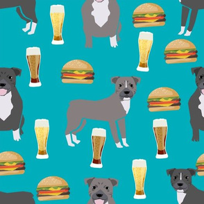 pitbulls and burgers food print burgers and beer - turquoise