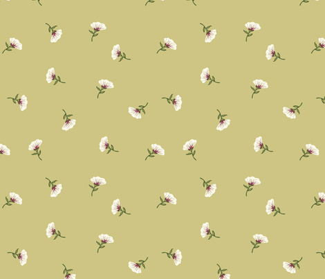 Floral Beauty Small Yellow Green fabric by phyllisdobbs on Spoonflower - custom fabric