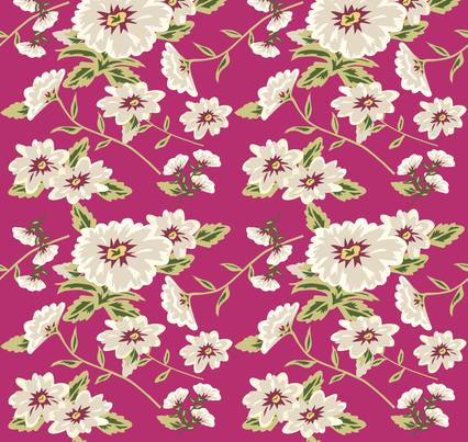 Modern Stylized Flowers Fuchsia Pink fabric by phyllisdobbs on Spoonflower - custom fabric