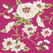 Modern Stylized Flowers Fuchsia Pink