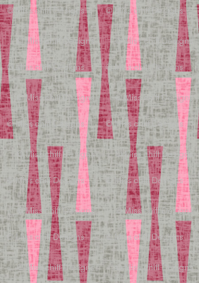Mid-century Modern Abstract Valentine || Pink red Gray Grey Texture Linen geometric dots  _ Miss Chiff Designs