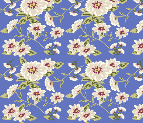 Modern Stylized Flowers Periwinkle Blue fabric by phyllisdobbs on Spoonflower - custom fabric