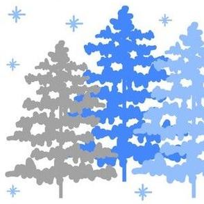 Winter Rustic Woodland Christmas Snow Blue Gray
