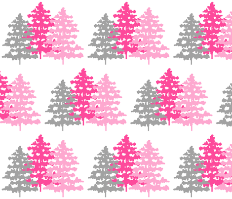 Woodland rustic nursery girl pink gray fabric decamp for Pink and grey nursery fabric