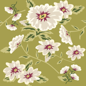 Modern Stylized Flowers Chartreuse Green