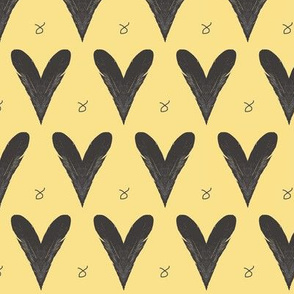 Hearts from Feathers Yellow Upholstery Fabric