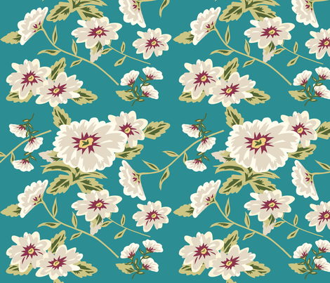 Modern Stylized Flowers Turquoise Teal Green fabric by phyllisdobbs on Spoonflower - custom fabric