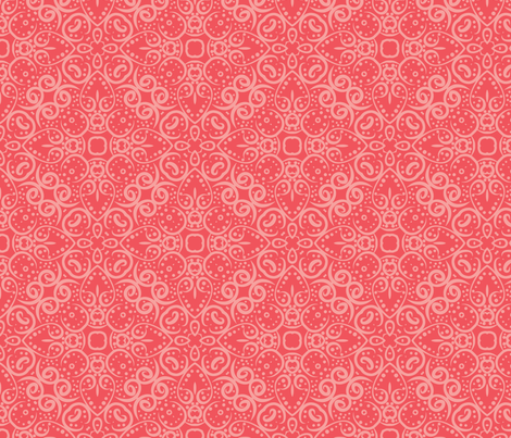 Coral Shells Scroll Tile fabric by nettieandliz on Spoonflower - custom fabric