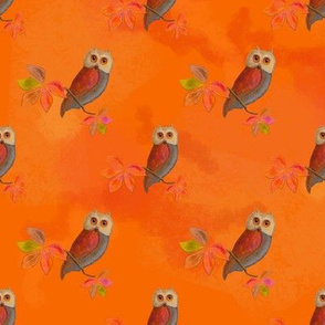 Friendly Owls on Sunny Orange