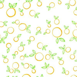 Simply designed oranges with leaves