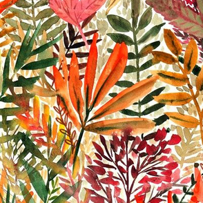 red and orange fall leaves on white - watercolor - autumn