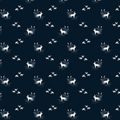Dog Ducks Scene Dark Navy half scale