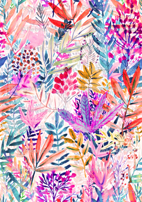 Dreamy pink leaves Watercolor