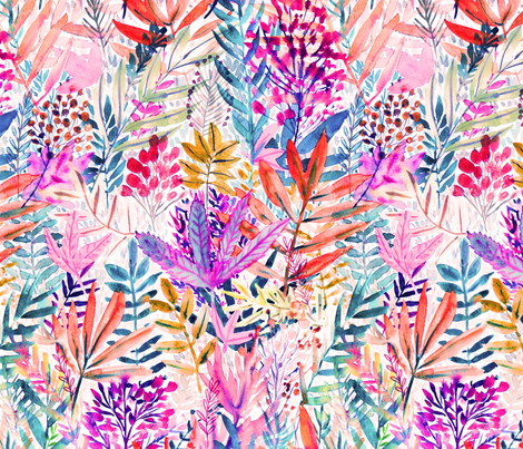 Dreamy pink leaves Watercolor fabric by rebecca_reck_art on Spoonflower - custom fabric