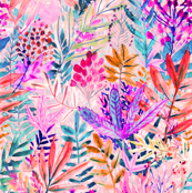 Dreamy pink fall leaves Watercolor