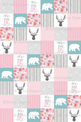 Dream big little girl whole cloth cheater quilt