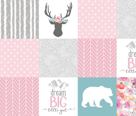 Dream big little girl whole cloth cheater quilt fabric by longdogcustomdesigns on Spoonflower - custom fabric