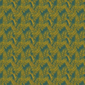 faux gold glitter palm leaves - jungle green, mini