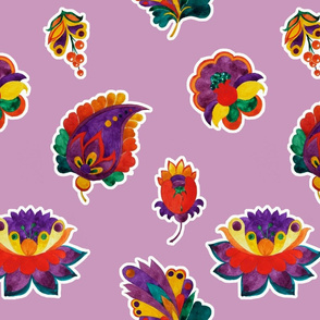Fantasy bright flowers on a light lilac background