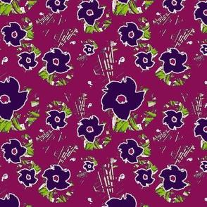 Purple Flowers on Jam Purple Upholstery Fabric