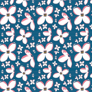 White Lilacs on Blue Upholstery Fabric