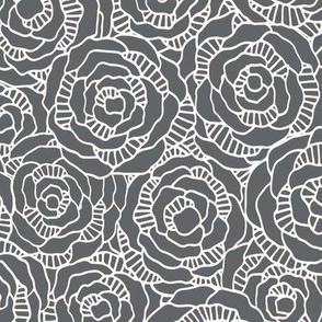 Modern Blossom - Slate Grey