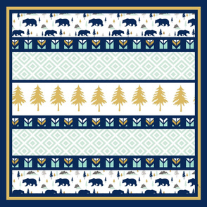 Bears in the Woods Navy Wholecloth Cheater Quilt