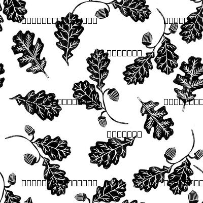 Oak leaves nature botanical fall autumn fabric pattern black and white