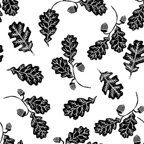 Oak leaves nature botanical fall autumn fabric pattern black and white fabric by andrea_lauren on Spoonflower - custom fabric