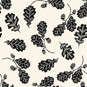 Oak leaves nature botanical fall autumn fabric pattern cream black