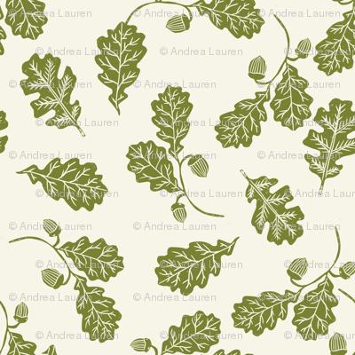 Oak leaves nature botanical fall autumn fabric pattern green