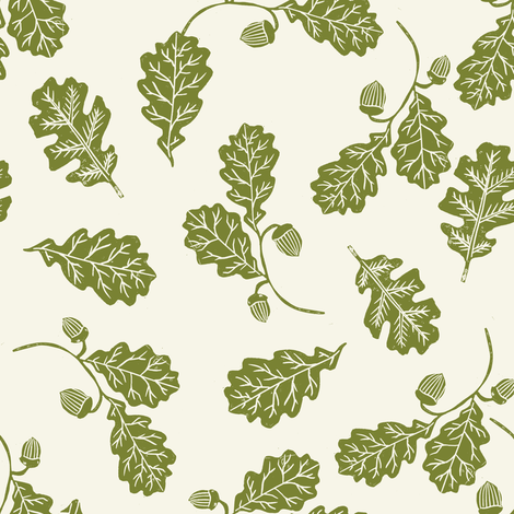 Oak leaves nature botanical fall autumn fabric pattern green fabric by andrea_lauren on Spoonflower - custom fabric