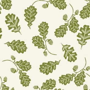 Oak leaves nature botanical fall autumn fabric pattern green