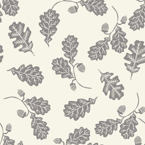 Oak leaves nature botanical fall autumn fabric pattern cream fabric by andrea_lauren on Spoonflower - custom fabric