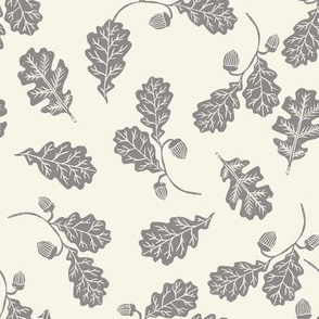 Oak leaves nature botanical fall autumn fabric pattern cream