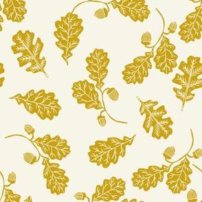 Oak leaves nature botanical fall autumn fabric pattern mustard