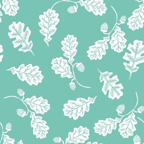 Oak leaves nature botanical fall autumn fabric pattern seafoam