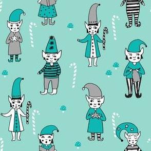 Santa's Elves christmas cute fabric pattern holiday spirit seafoam