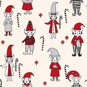 Santa's Elves christmas cute fabric pattern holiday spirit champagne