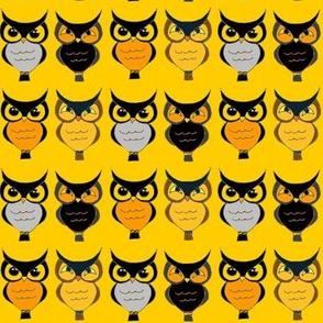 Owls on bright yellow