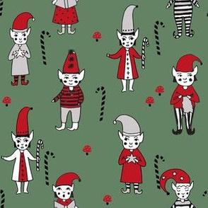 Santa's Elves christmas cute fabric pattern holiday spirit dark sage