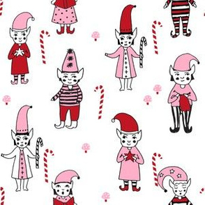 Santa's Elves christmas cute fabric pattern holiday spirit pink