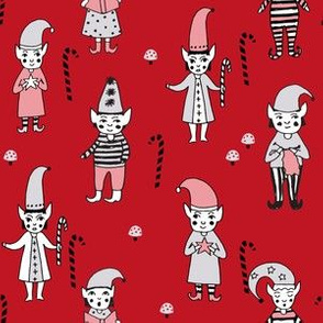 Santa's Elves christmas cute fabric pattern holiday spirit red 2