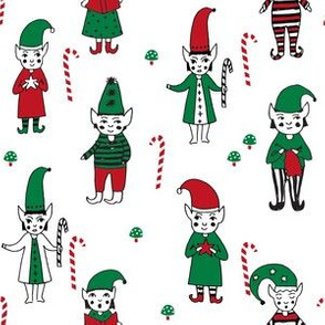Santa's Elves christmas cute fabric pattern holiday spirit white